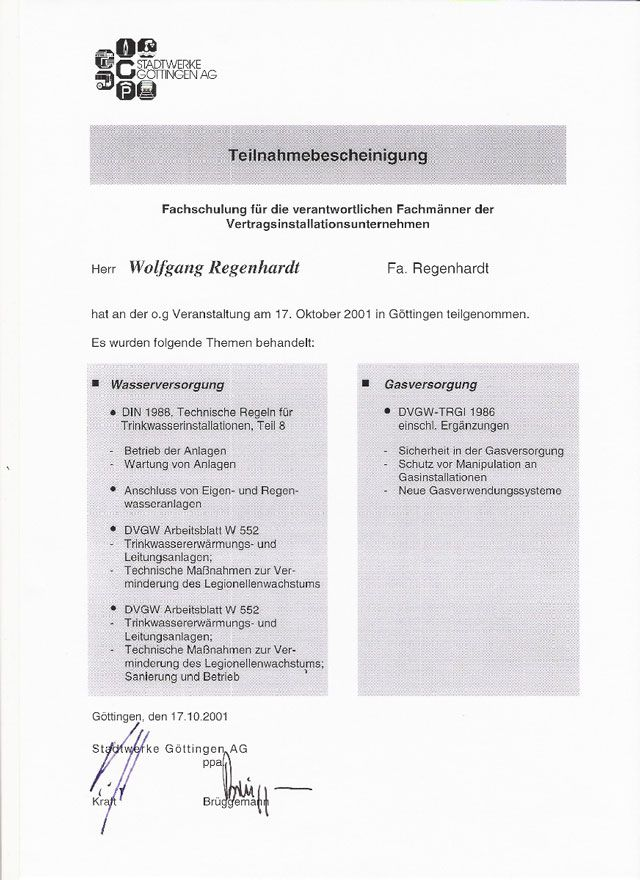 Zertifikate - Ihr Sanitärinstallateur aus Seulingen - Paul Regenhardt
